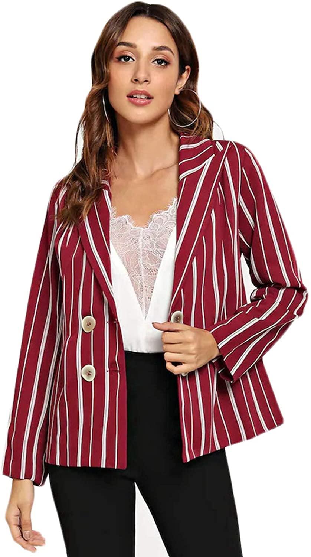 Women's Stripe Blazers Coat Work Office Casual Top