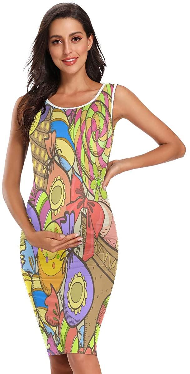 SLHFPX Seamless Candies Lollipop Ice Cream Women's Maternity Dresses Casual Pregnancy Dresses Bodycon Plus Size Midi