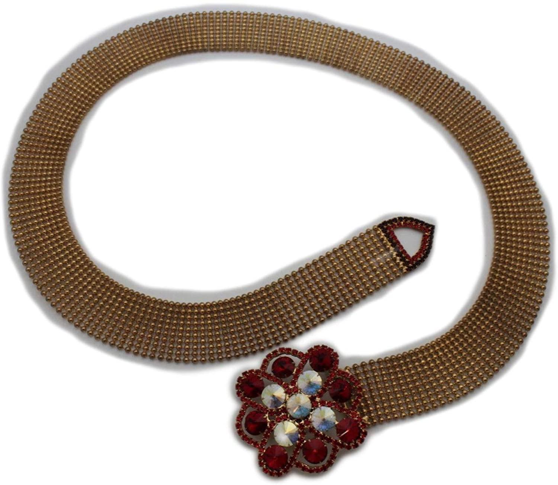 TFJ Women Fancy Fashion Dressy Belt Hip Waist Rusty Gold Metal Red Flower Buckle S M