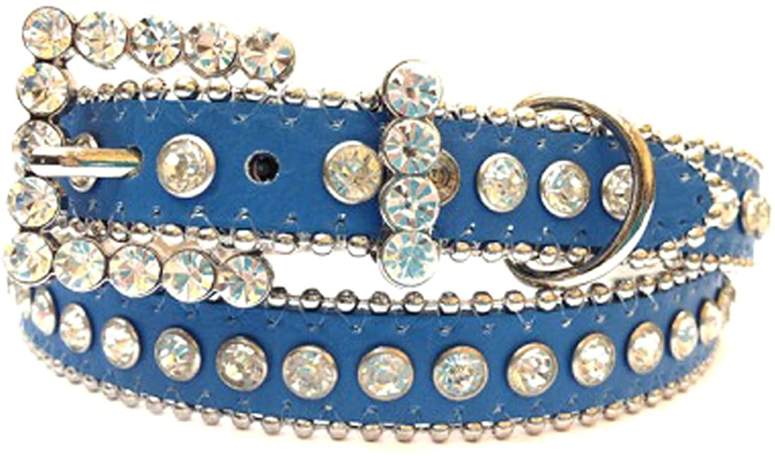 Blue Leather Belt, Decorated with Clear Rhinestones and Rhinestone Belt Buckle, Size S/M