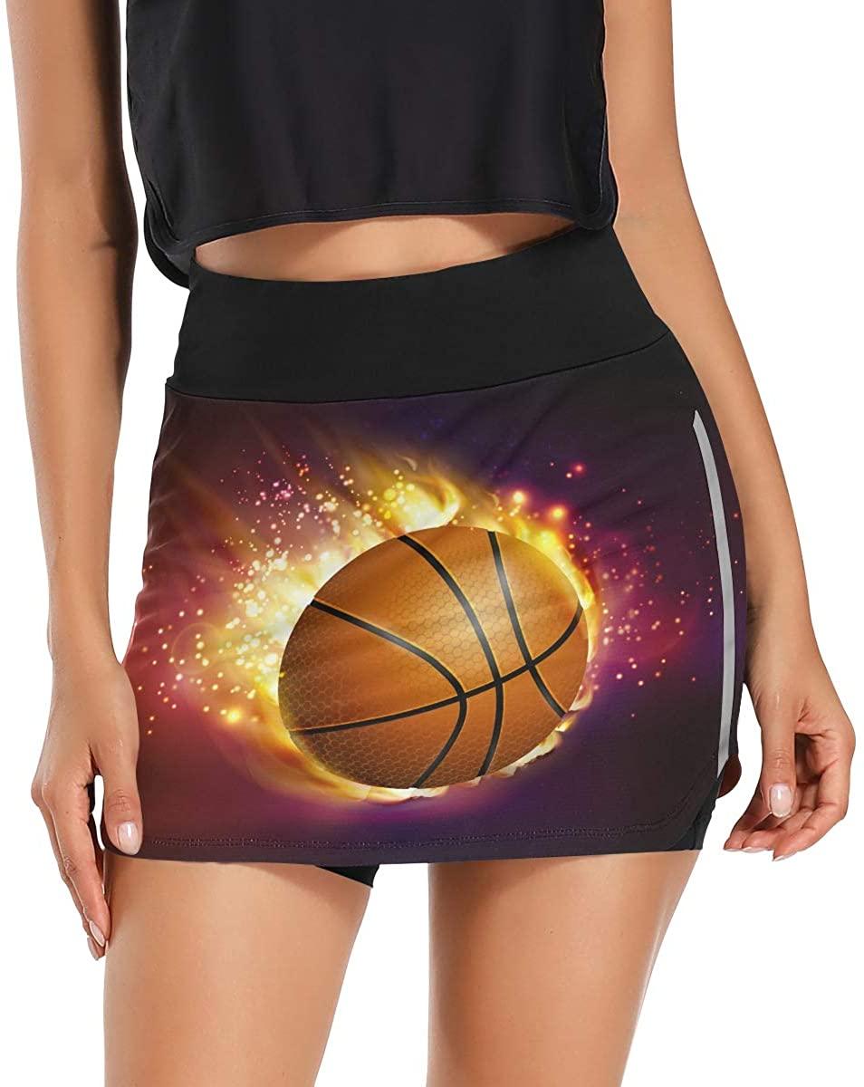 Flying Basketball On Fire Women's Tennis Golf Skorts Skirts with Pockets Inner Biker Shorts High Waist