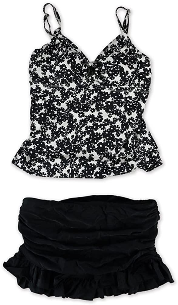 Island Escape Womens Floral Print Ruffled Skirt 2 Piece Tankini