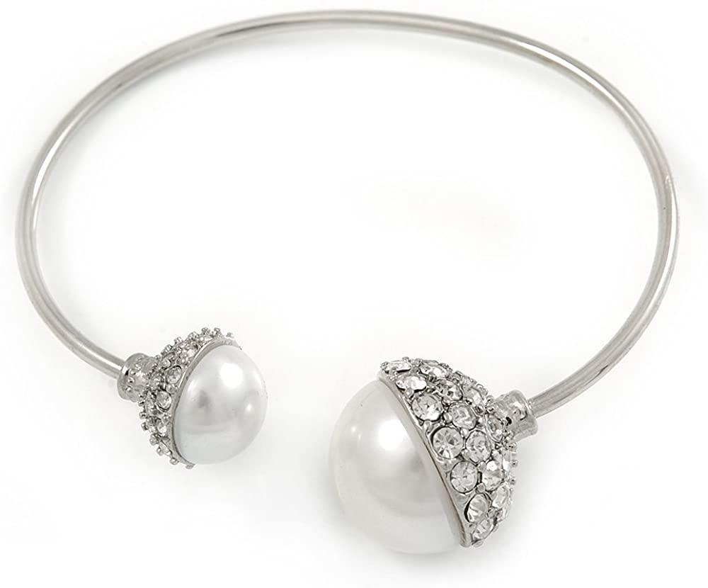 Avalaya Crystal Double Pearl Bead Bar Slip On Bracelet in Silver Tone - Adjustable