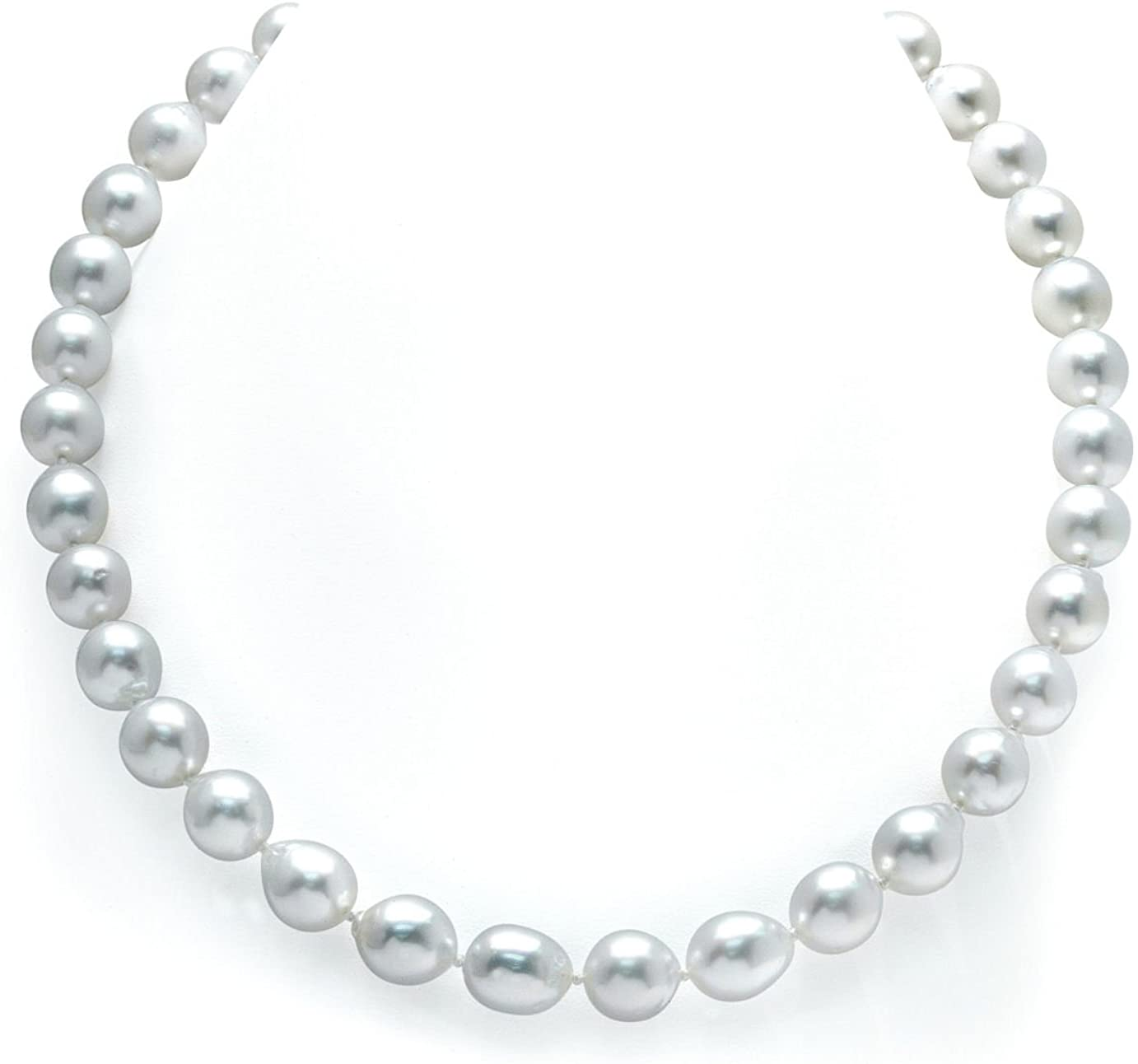 THE PEARL SOURCE 14K Gold 10-11mm Drop-Shape Genuine White South Sea Cultured Pearl Necklace in 17