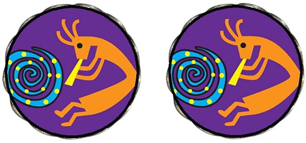 GiftJewelryShop Bronze Retro Style Kokopelli Dance Photo Clip On Earrings Flower Earrings 12mm Diameter
