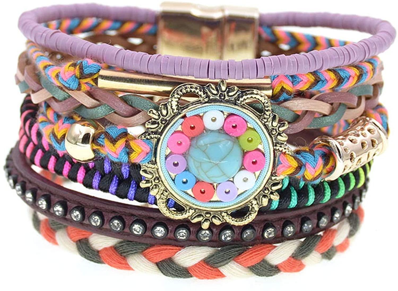 women bracelets Leather bracelets bohemia colorful beaded charm bracelets for women jewelry,purple,17cm