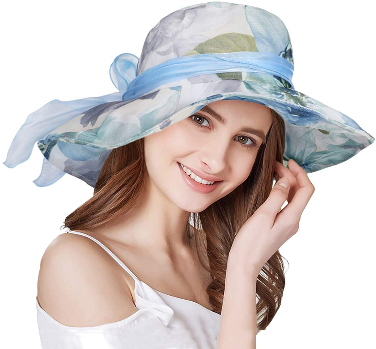 Sumolux Women Derby Church Dress Sun Hats Wide Brim Flounce Cocktail Tea Party Bridal Dress Wedding Girls
