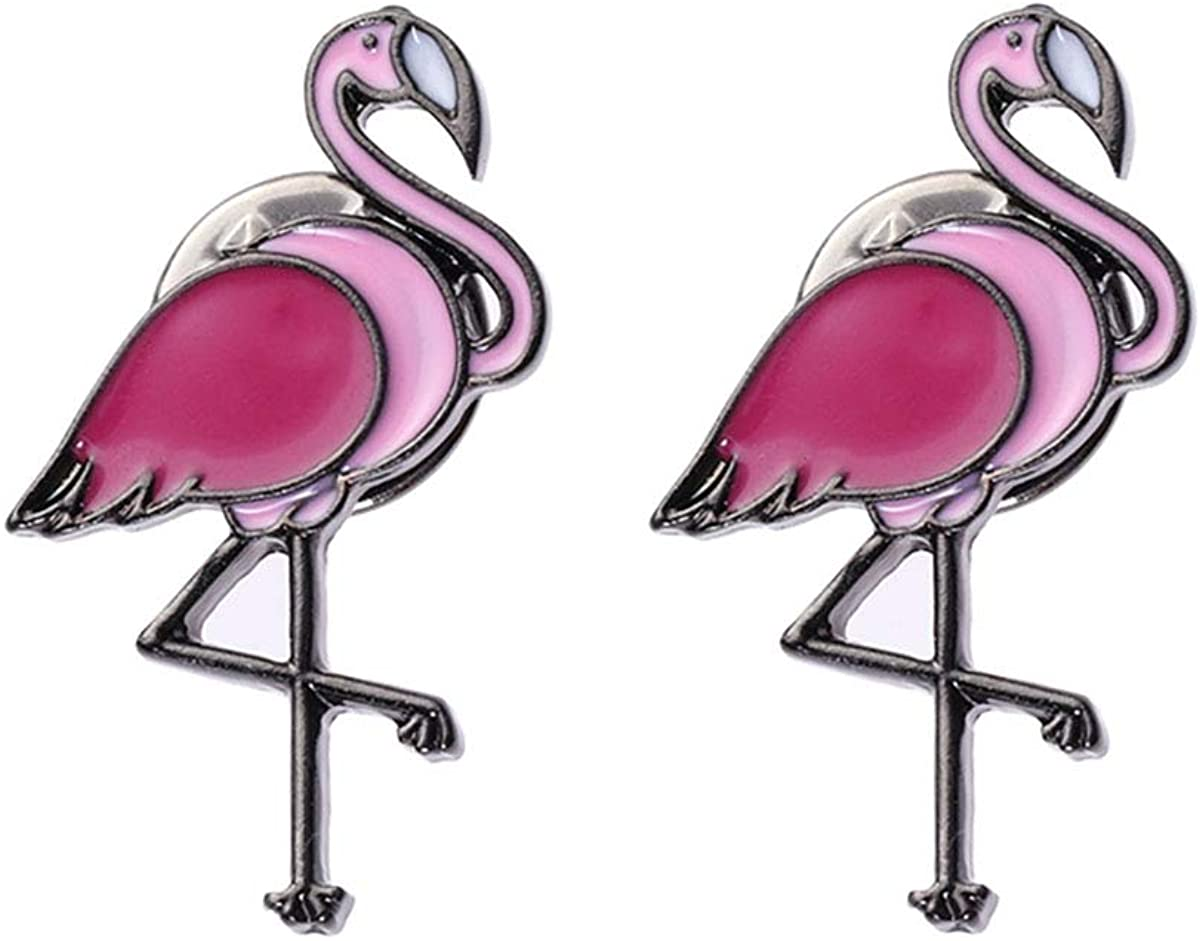 Amosfun Flamingo Brooch Pins Corsage Clothes Bags Scarf Brooch Clip Pin Buckle Tropical Hawaiian Jewelry Gifts 2PCS