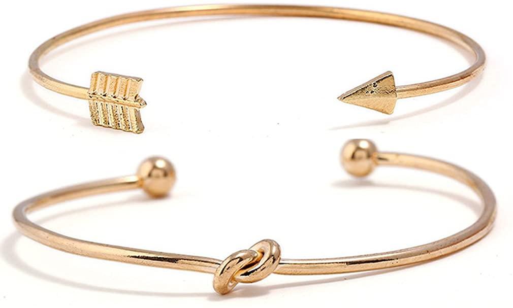 YAZILIND Women Bohemian Vintage Gold Plated Arrow Knot Open Cuff Bangle Stackable Retro Charm Elegant Ethnic Bracelet Jewelry