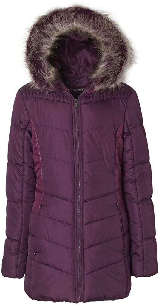 Sportoli Junior Women's Winter Plush Lined Midlength Puffer Coat with Fur Trimmed Hood