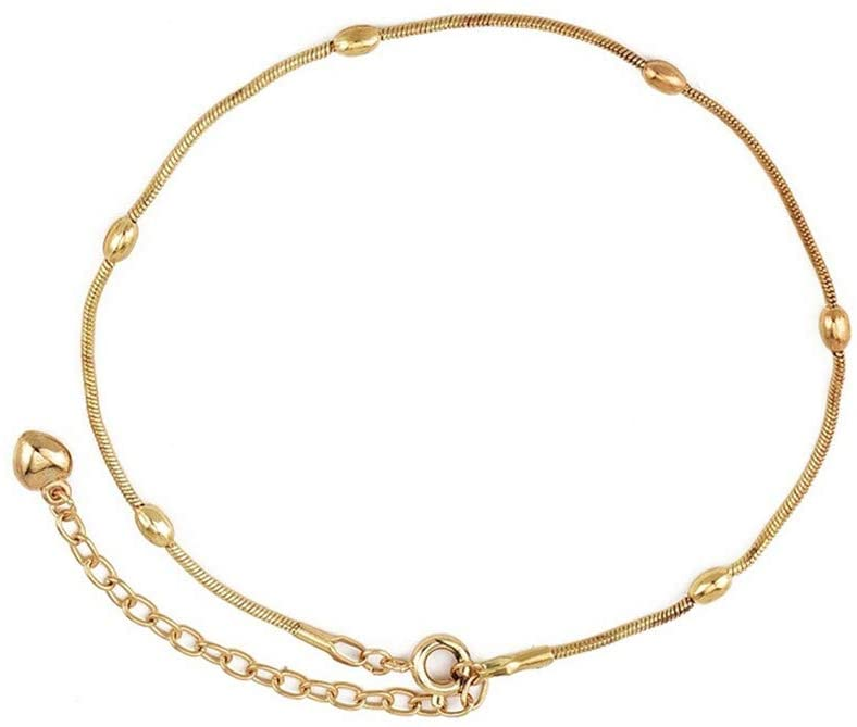 Cngstar Fashion Anklet Heart Five Pointed Star Simple Women Bracelet for Jewelry Accessories (Gold)