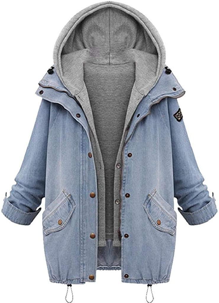 terbklf Long Sleeve Denim Jacket Jean Jacket Boyfriend Coat for Women Winter Warm Hooded Coat Trench Parka Outwear