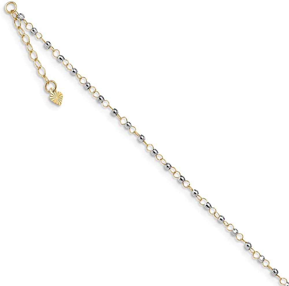 Beautiful White and yellow gold 14K 14K Two-tone Circle Chain w/Mirror Beads 9in Plus 1in Ext. Anklet
