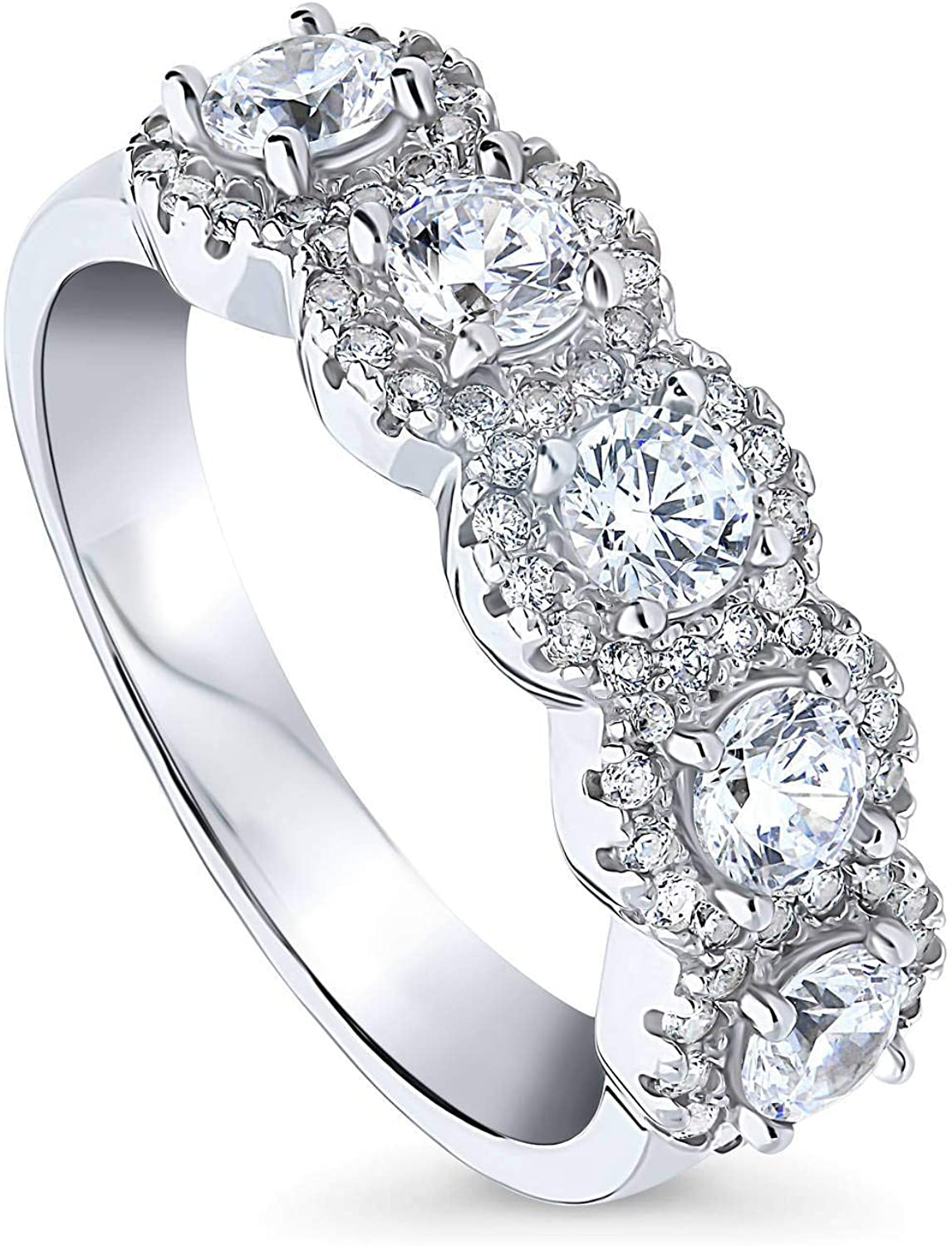 BERRICLE Rhodium Plated Sterling Silver Round Cubic Zirconia CZ 5-Stone Anniversary Wedding Band