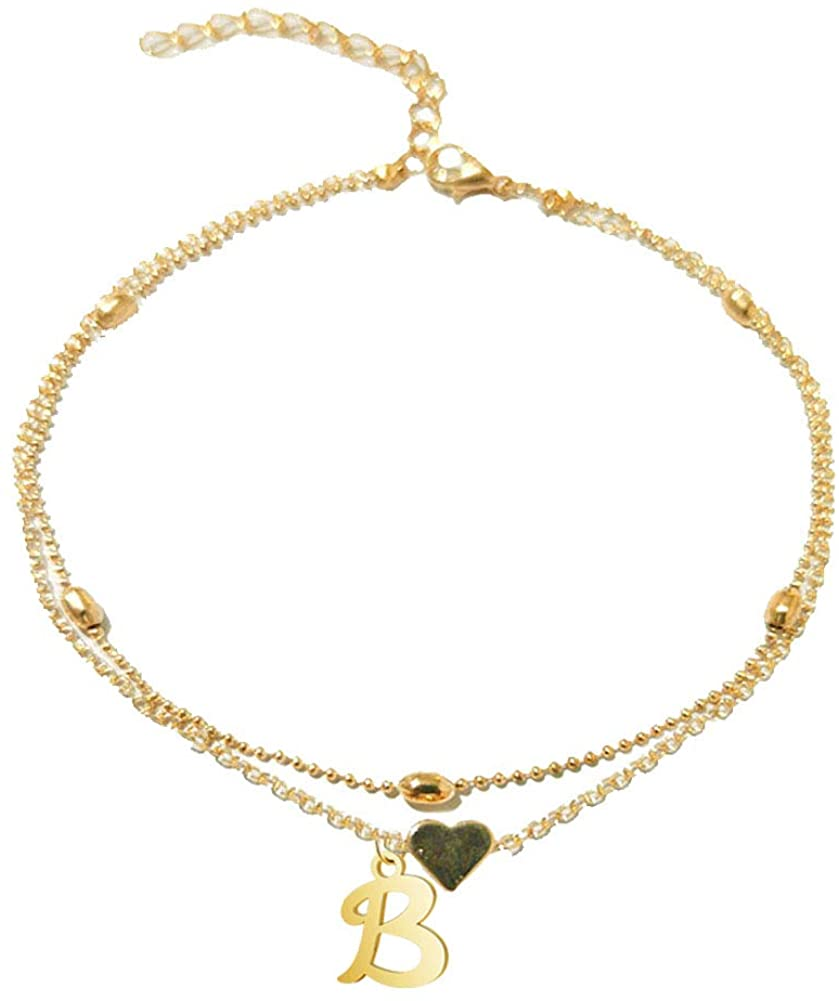 JczR.Y Initial Heart Anklet Bracelet Adjustable Layered Beads Chain Alphabet Letter Anklet for Women Girls Fashion Summer Beach Foot Jewelry Gift