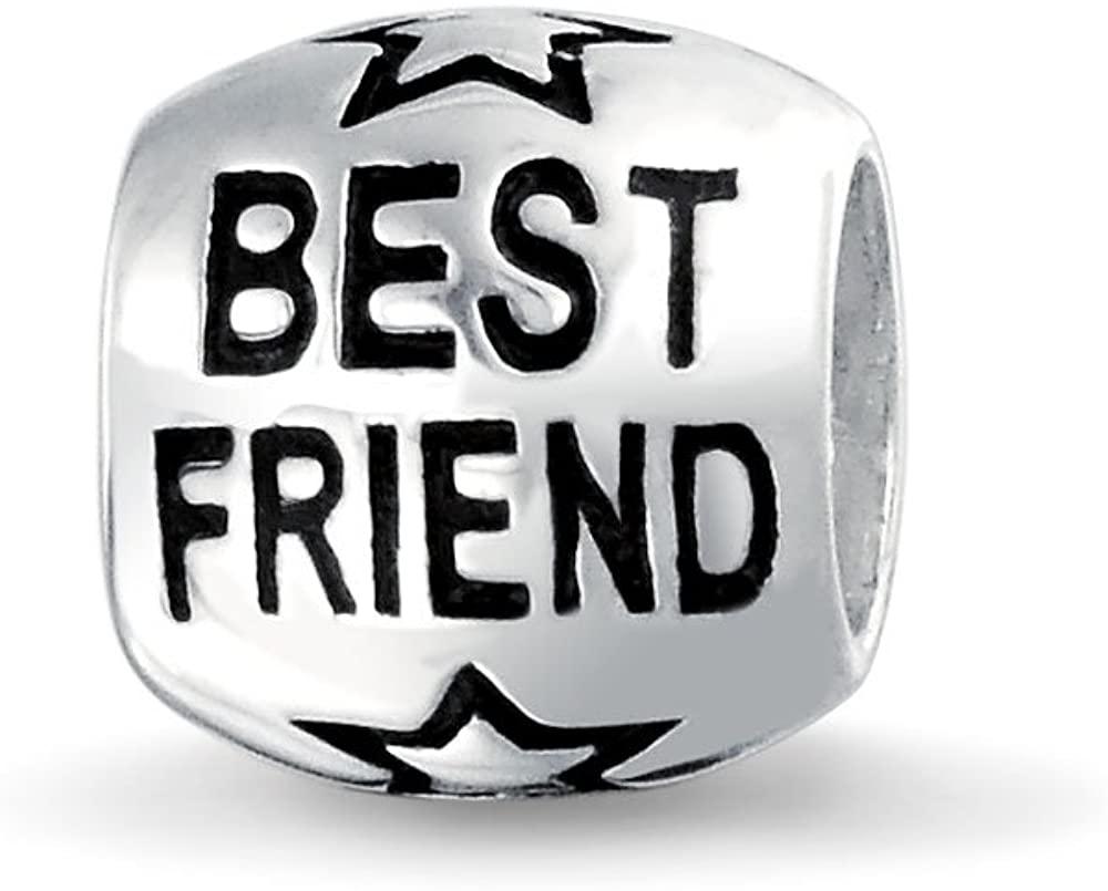 Word Best Friend Bff Charm Bead For Women For Teen Oxidized 925 Sterling Silver Fits European Bracelet