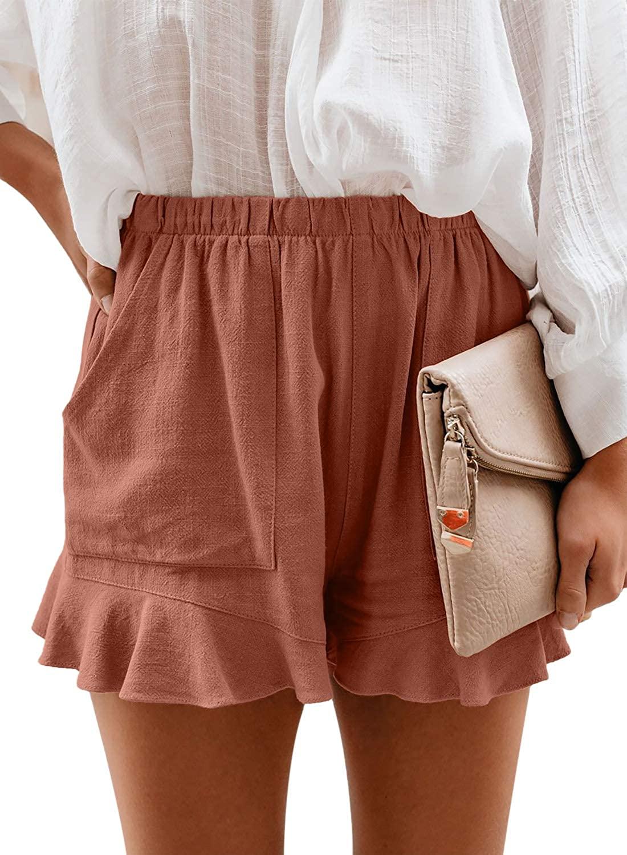 Aleumdr Womens Casual Ruffle Hem Elastic Waist Shorts Pants with Pockets