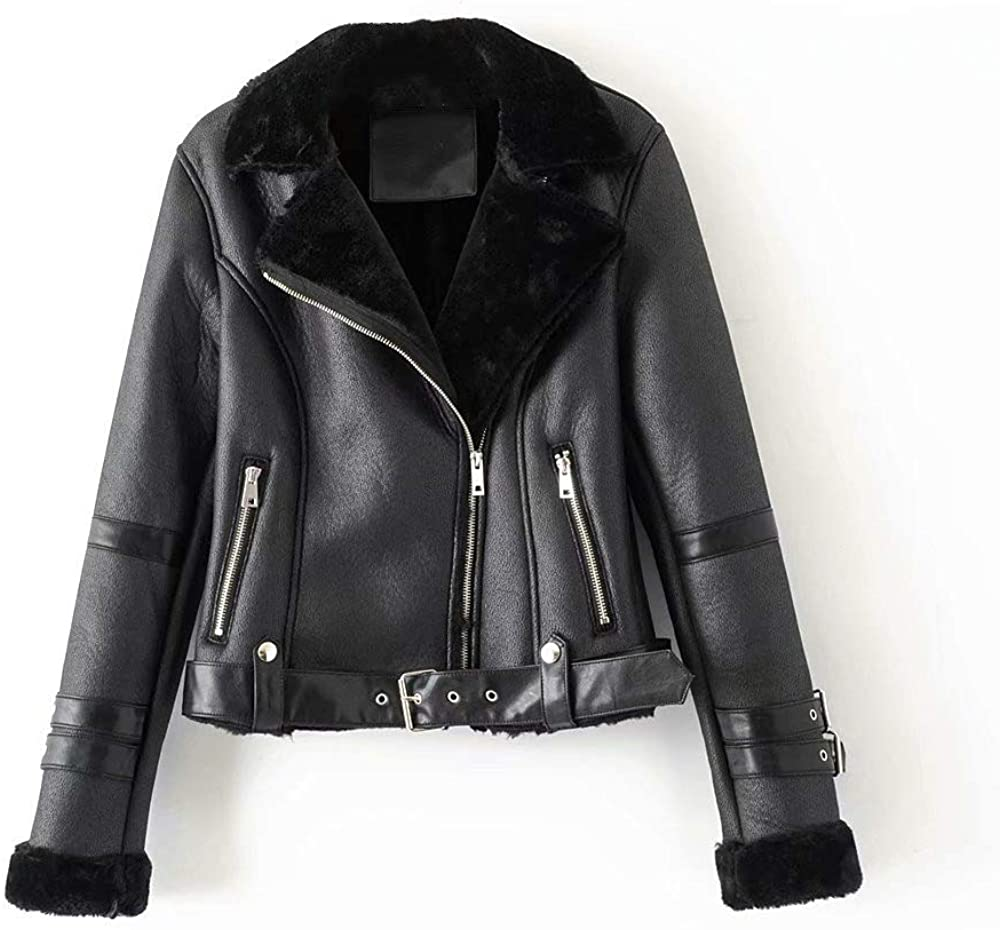 Womens Winter Short Fur One-Piece Jacket Slim Zip Leather Faux Leather Jacket