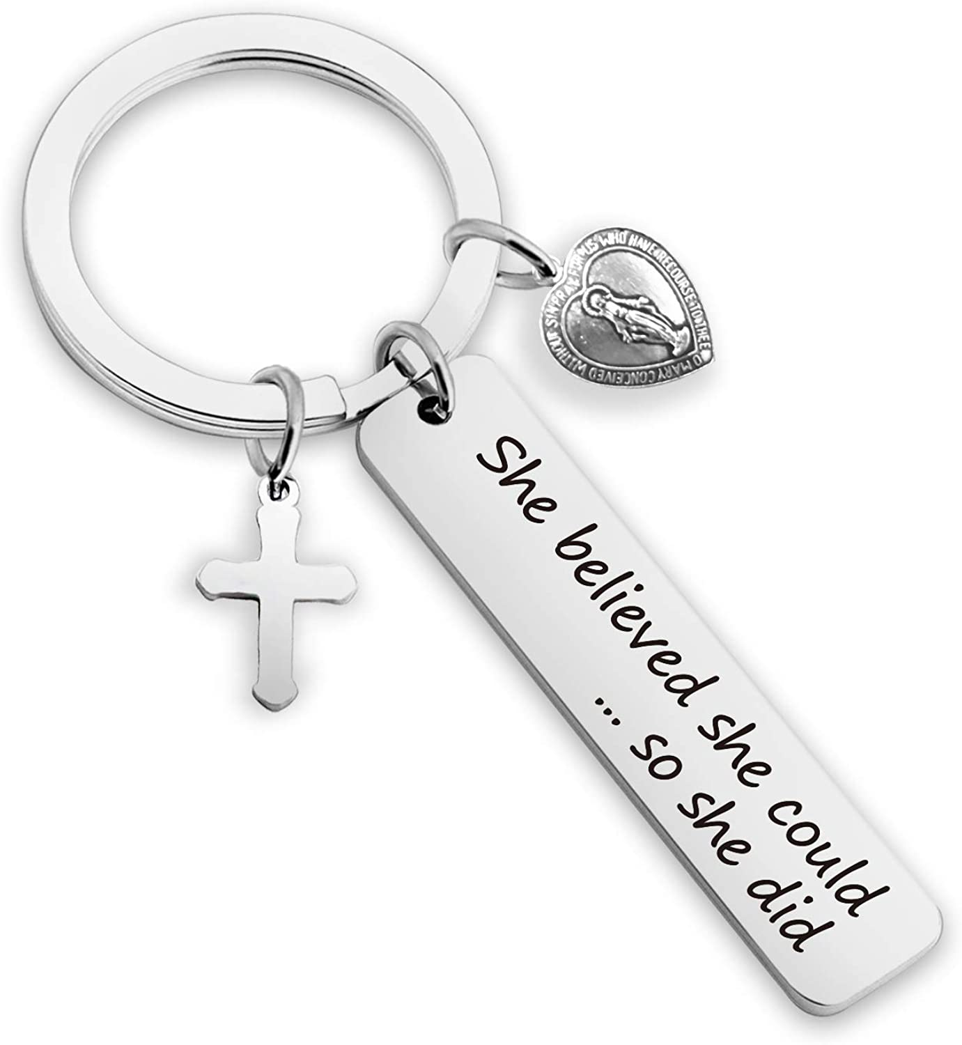 G-Ahora Christian Keychain She Believe She Could Mary Christian Jewelry Keychain Cross Religious Gift Bible Scripture Keychain Goddess Jewelry