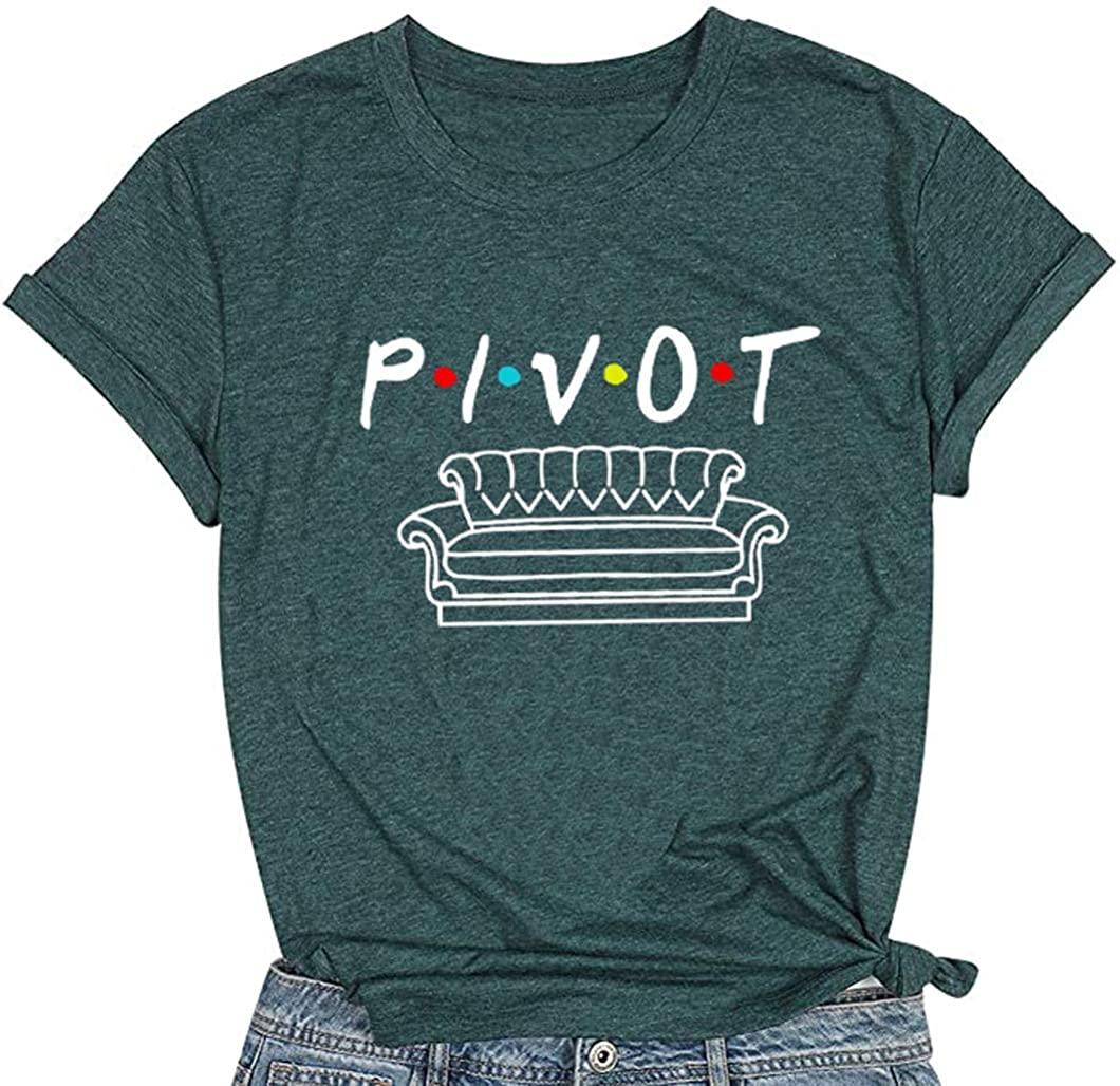 Pivot Shirts Women Funny Cute Graphic T Shirt Short Sleeve Friends TV Show Tee Tops