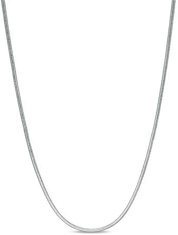ARGENTO REALE 1MM- 2MM Sterling Silver Round Snake Chain Necklace- Solid Sterling Silver Italian Chain For Pendants, Flexible 925 Snake Chain, 16-30 Lobster Clasp