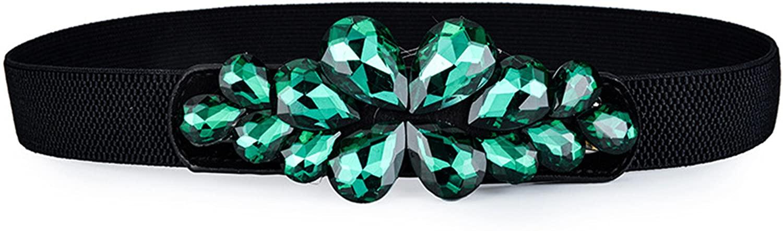 Houseile Genuine 2018 New Style Rhinestone Women's Elastic Stretch Waist Belt for Women Dress Crystal Thin Waistband 2.5cm Wide (Malachite Green)