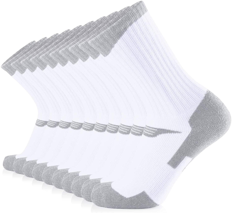 JOURNOW 10 Pairs Women's Cotton Extra Heavy Cushion Crew Sports Socks