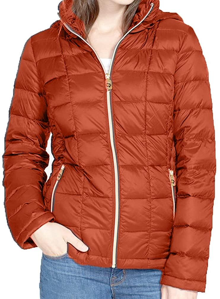 Michael Michael Kors Hooded Down Packable Coat - Orange