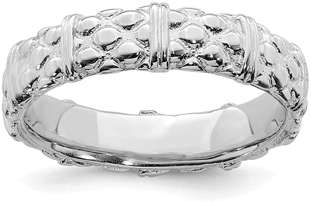 Beautiful Sterling silver 925 sterling Sterling Silver Stackable Expressions Rhodium Ring