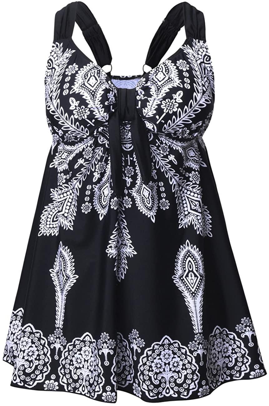 ninovino Womens Plus Size Swimsuit Retro Floral Adjustable Straps Swimwear with Briefs