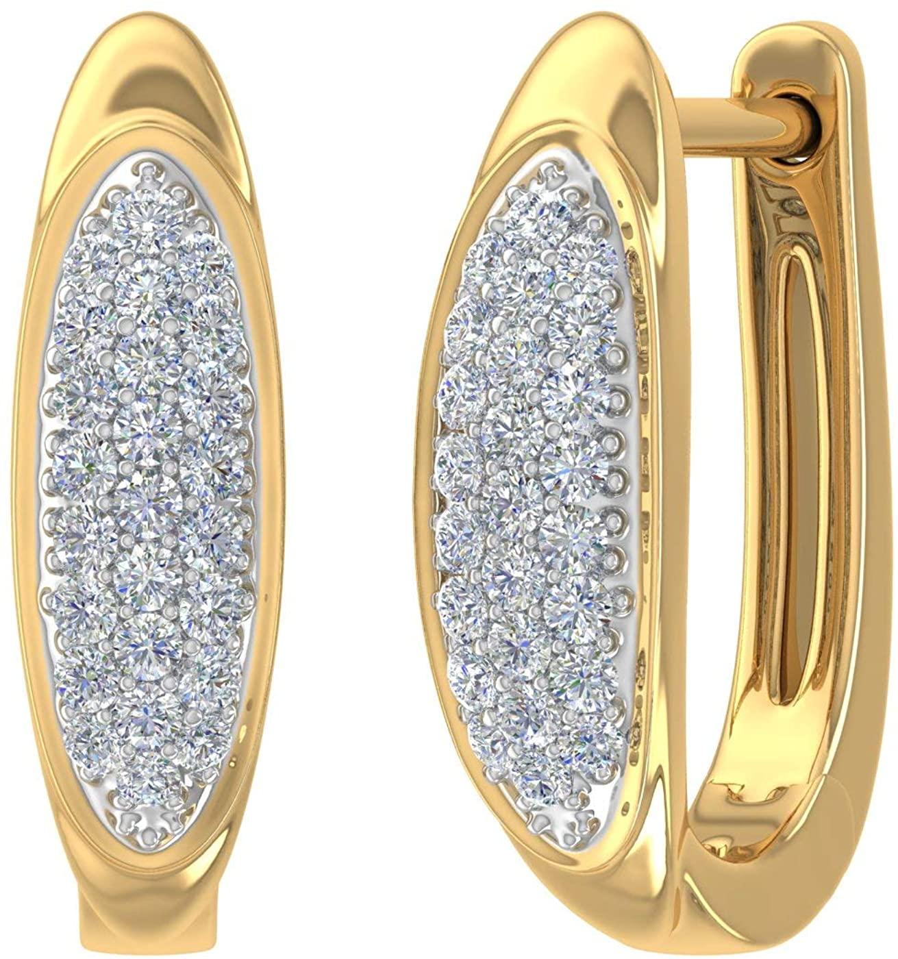 14K Gold Round Diamond Ladies Huggies Hoop Earrings (1/5 Carat)