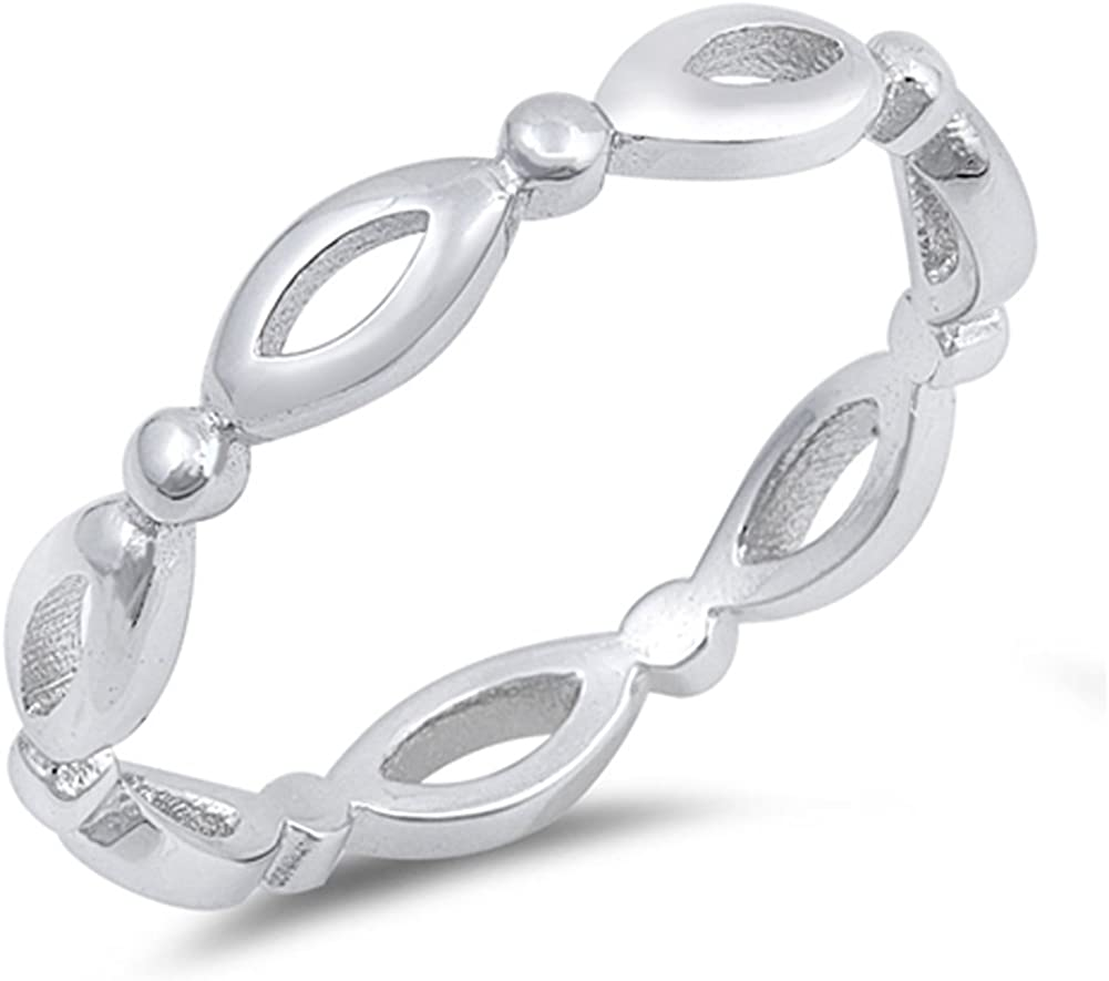 Eternity Marquise Stackable Cute Ring New .925 Sterling Silver Band Sizes 2-12