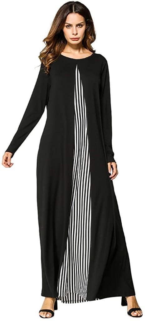 ZhixiaYS Women's Long Robe Stripe Patchwork Dress Abaya Islamic Muslim Middle Eastern Long Dress