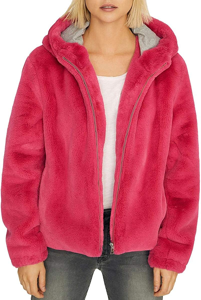 Sanctuary Hooded Faux-Fur Jacket Pink Small