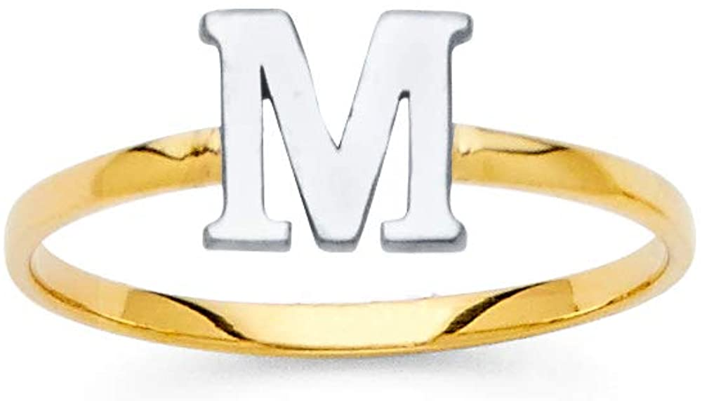Jewels By Lux 14K White and Yellow Gold Two Tone Initial Letter Stackable Ring