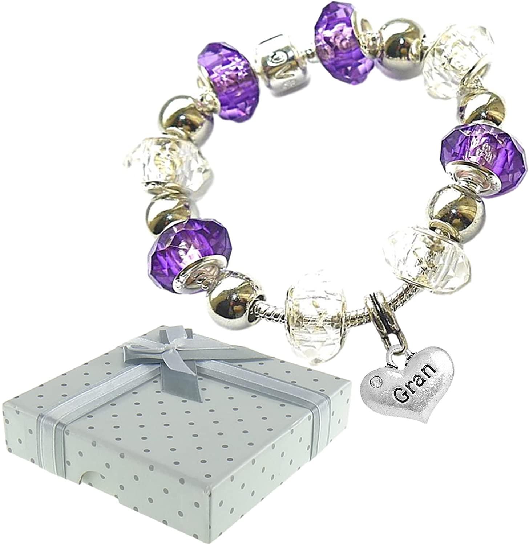 Charm Buddy Gran Grandma Grandmother Purple Crystal Glass Pandora Style Charm Bracelet With Gift Bag