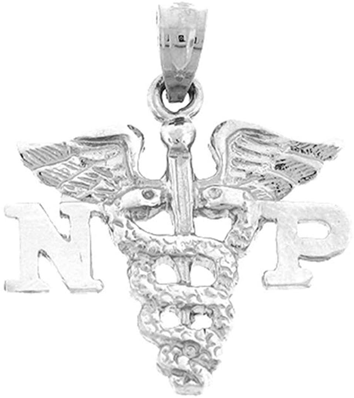 Jewels Obsession Np Nurse Practitioner Pendant | Sterling Silver 925 Np Nurse Practitioner Pendant - 24 mm