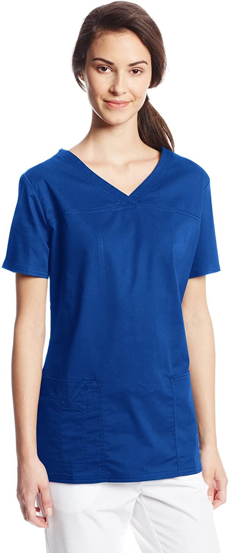 CHEROKEE Women's Workwear Core Stretch V-Neck Scrubs Shirt, Galaxy Blue, X-Small