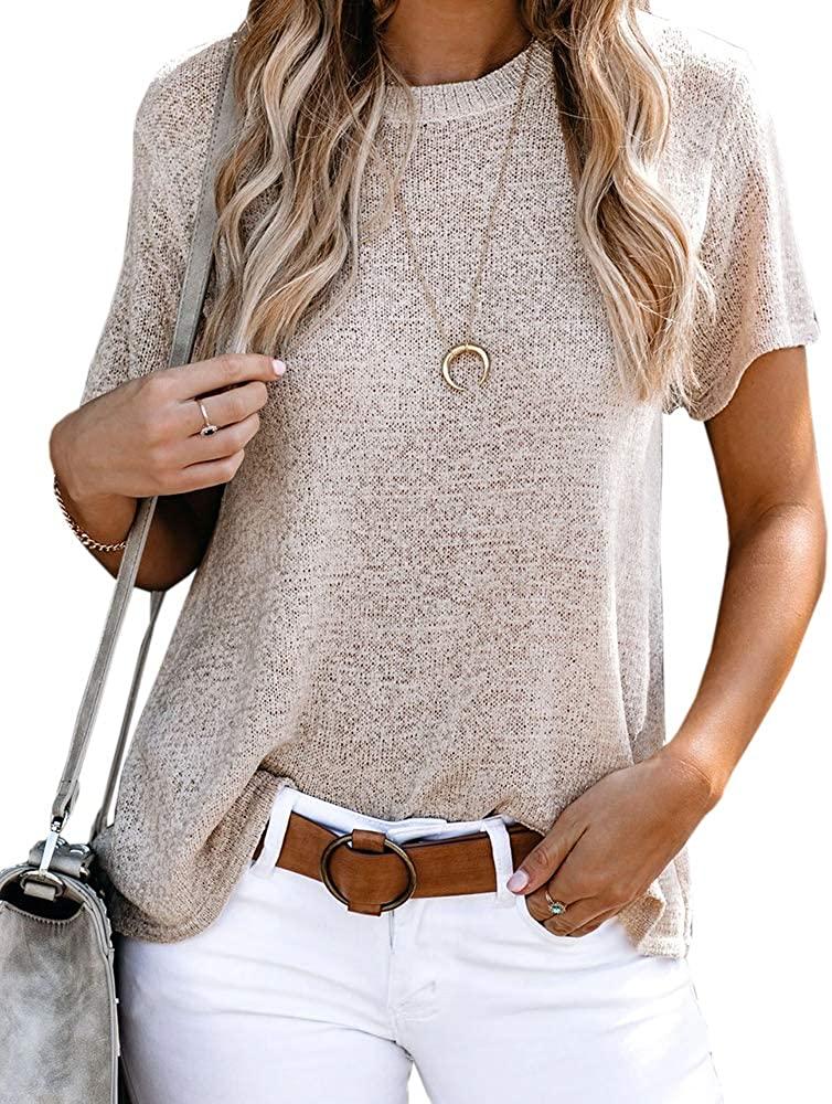 Ferbia Women Sheer T Shirts Crew Neck Summer Tops Crochet Flowy Short Sleeve Casual Loose Blouse