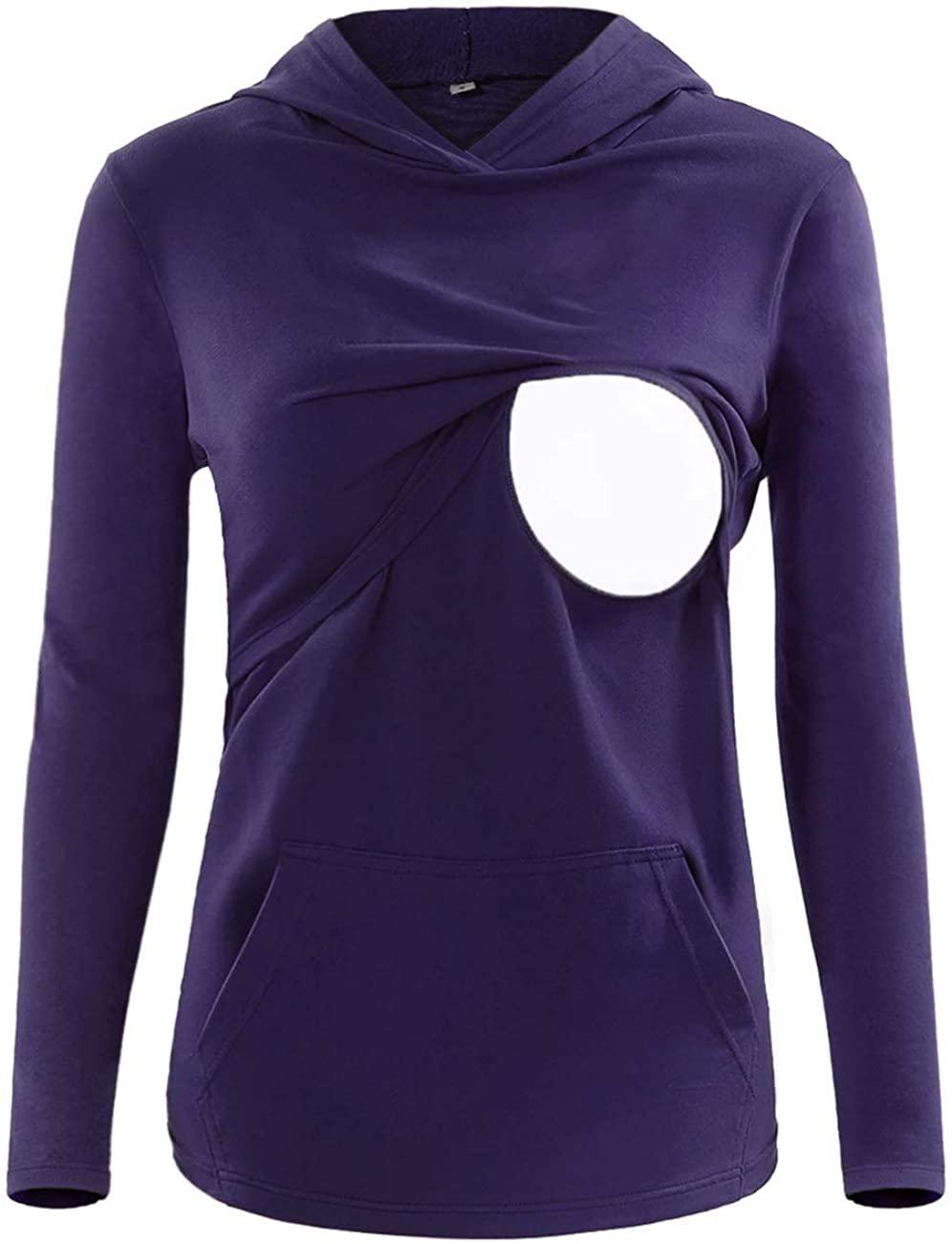 SUNNYBUY Women's Long Sleeve Nursing Top Shirt Maternity Breastfeeding Tops Clothes Casual Sweatshirt with Pocket(Purple-XL)