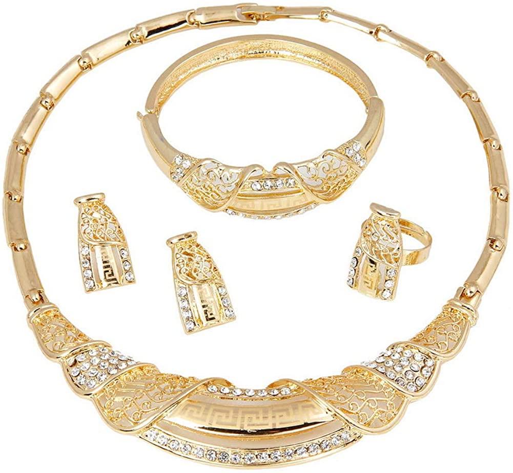 YAZILIND Wedding Engagement Necklace Earrings Bracelet Ring Bridal Rhinestone Jewelry Set(4pc)
