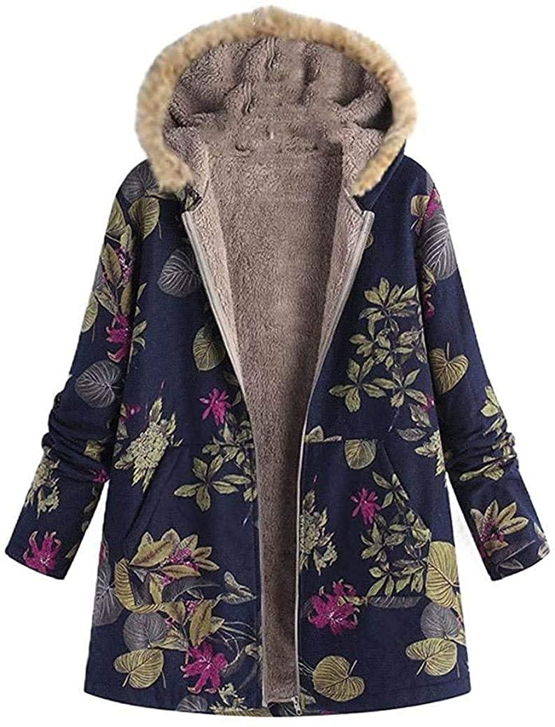 Kghsdydgy Women Fur Collar Sherpa Lined Linen Hood Floral Print Jacket