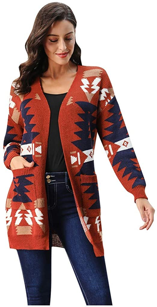 BUETERE Women Open Front Pocket Cardigan Sweater Button Down Knit Coat