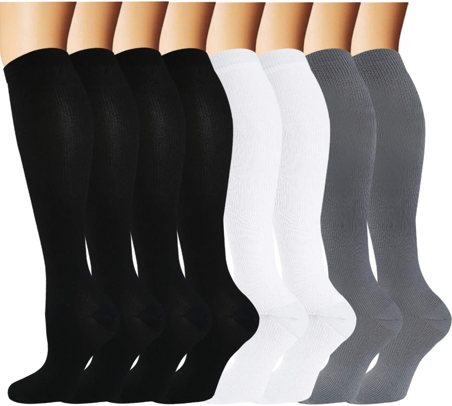 Knee High Compression Socks for Men & Women(8 Pairs)-Best for Running,Athletic and Travel -15-20mmHg