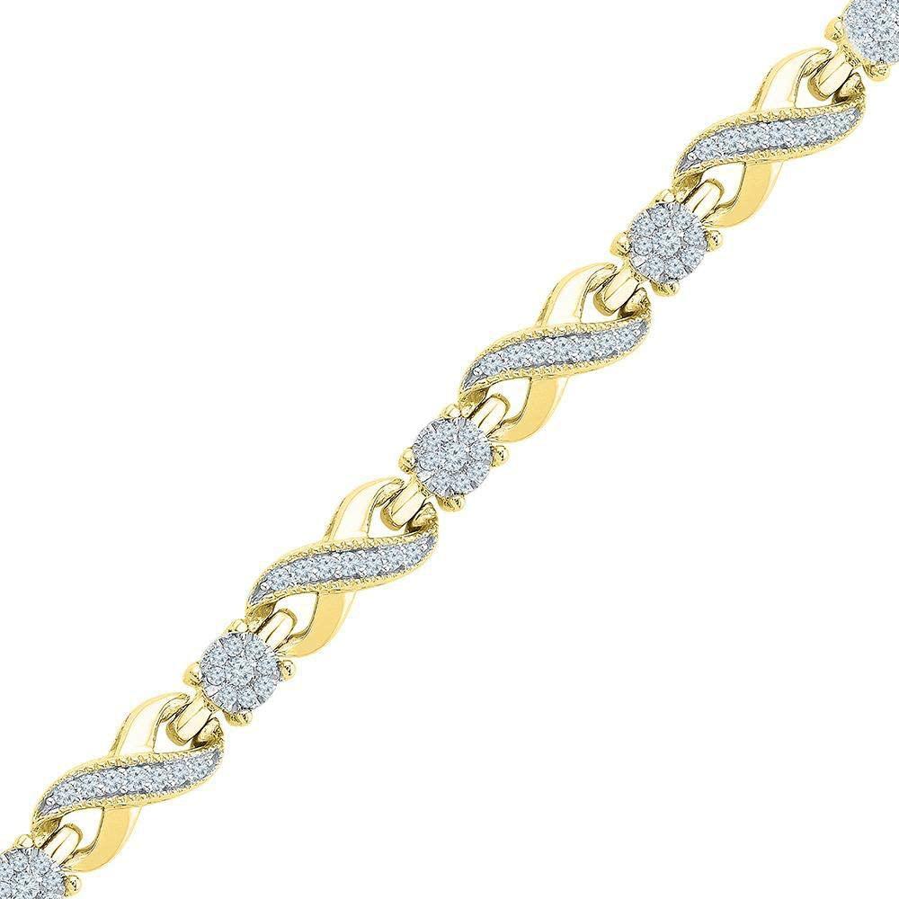 Dazzlingrock Collection 10kt Yellow Gold Womens Round Diamond Link Infinity Bracelet 1 Cttw