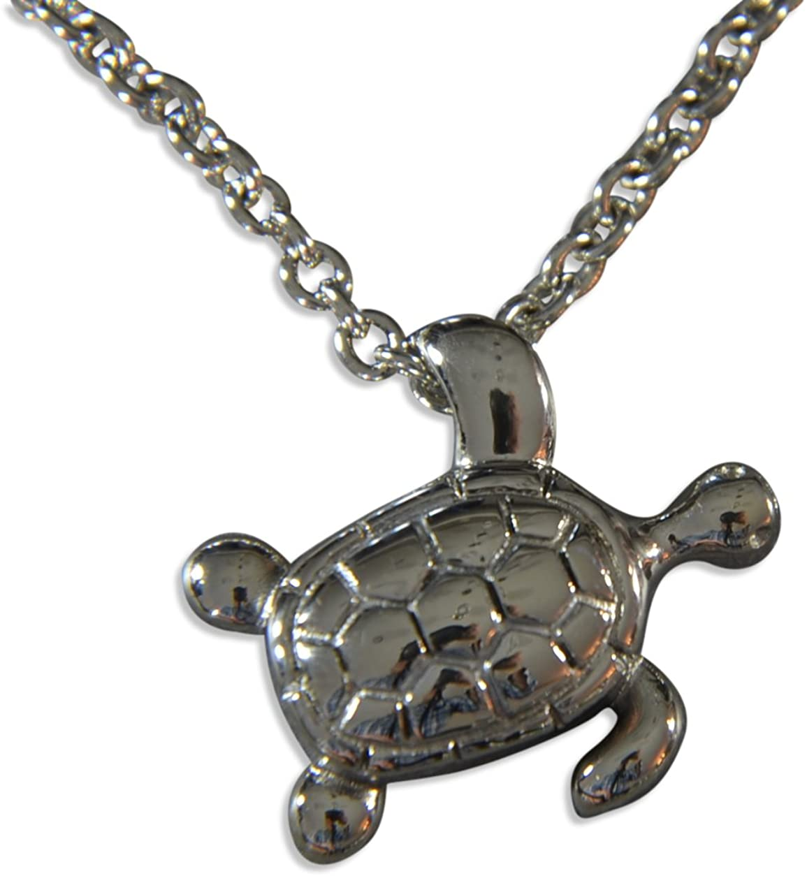 Gwen Delicious Silver Hanging Turtle Cremation Urn Necklace Secret Hidden Stash Pendant Locket Memorial Keepsake Jewelry (16 Inches)