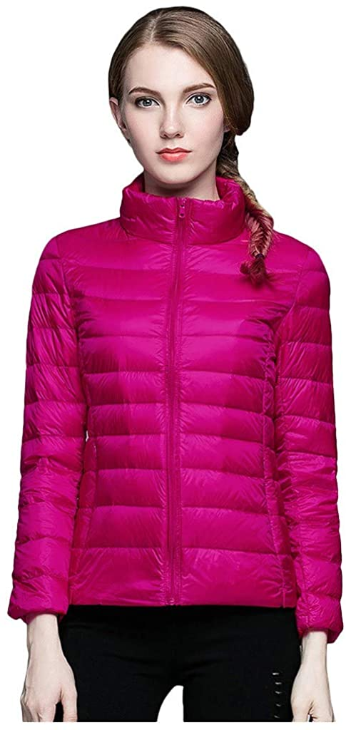 Bravetoshop Women's Lightweight Hooded Down Jacket Packable Puffer Insulated Slim Coats