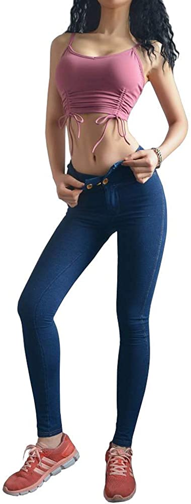 Angcoco Women's Sexy High Waisted Skinny Denim Pants Jeans