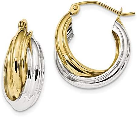 10k Two-tone Polished Double Hoop Earrings