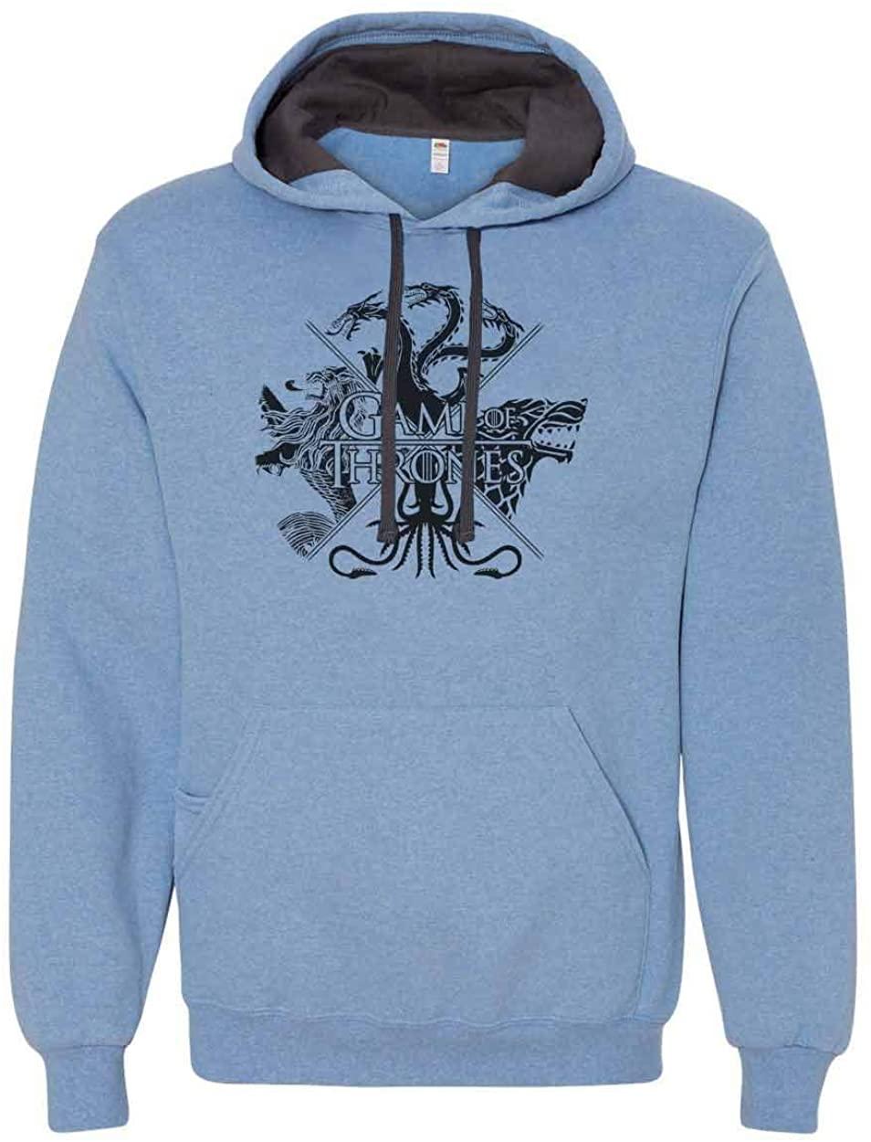 "Unisex Mens & Womens Hoodie - Very Soft Game of Thrones"" Hooded Sweatshirt Large, North Carolina Blue"